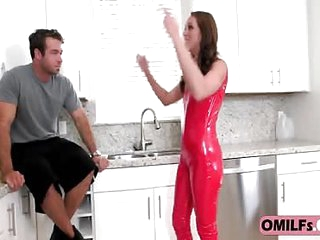 Milf blonde fucked in the kitchen with her rip off latex