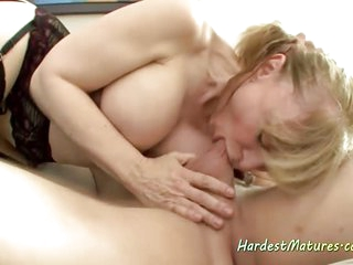 Super pornostar Nina Hartley Fucks Best Friend's Son Rocking That Cock With Her Milf Body