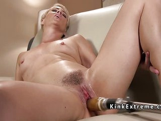 Solo blonde mature lady fucks machine working her cunt very fast and rough making her cum lots
