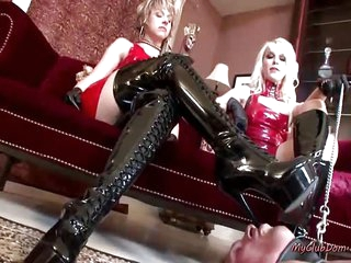 A Mature Latex Mistresses Makes Guy Worship Feet In Some Hardcore BDSM Action
