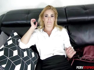 Horny tired MILF stepmom wants a relax after a long day