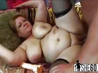 A slutty granny gets her pussy driled