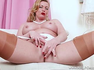 Perverted blond mother i'd like to fuck fingers moist fur pie in vintage nylon heels