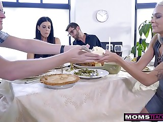 Mom Fucks Son & Eats Teen Creampie For Thanksgiving Treat