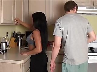 Latina Step Mom Fucks Son in Laundry Room