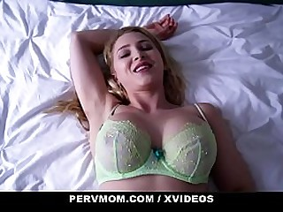 PervMom - Hot Blond Mom (AlixLynx) Sits On Step son's Cock